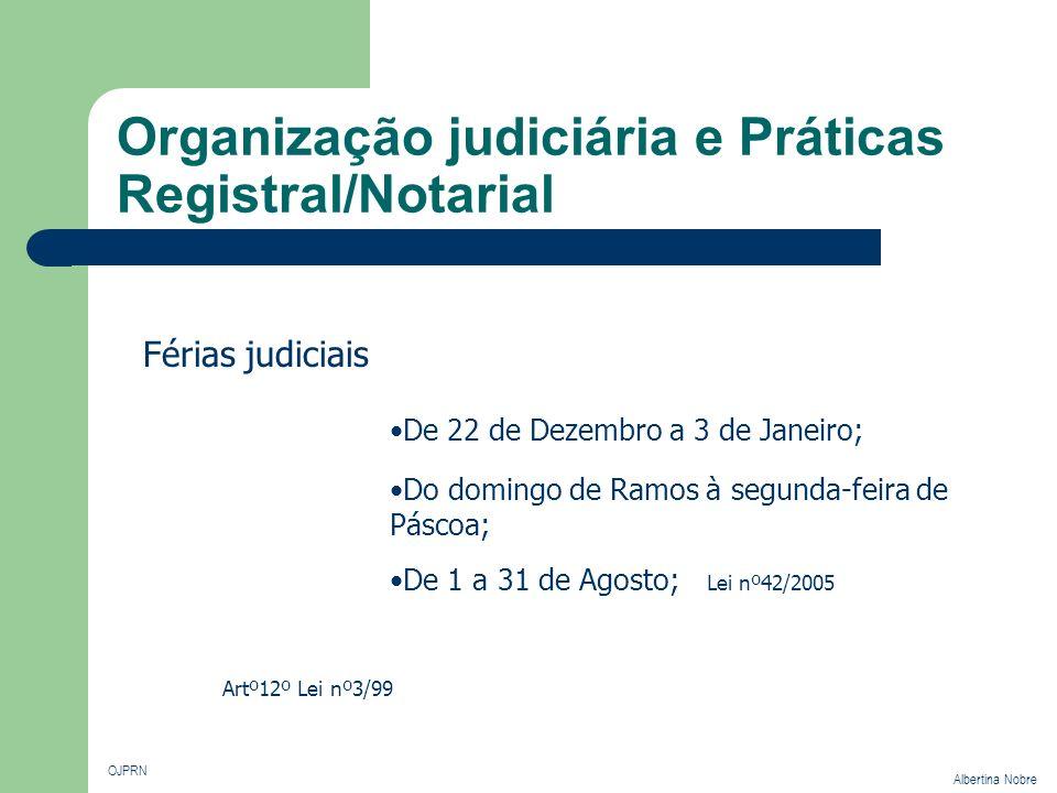 Organização judiciária e Práticas Registral/Notarial OJPRN Albertina Nobre Férias judiciais De 22 de Dezembro a 3 de Janeiro; Artº12º Lei nº3/99 Do do