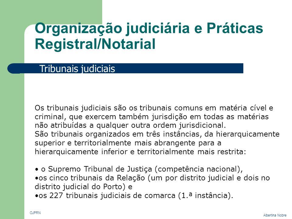 Organização judiciária e Práticas Registral/Notarial OJPRN Albertina Nobre Divisão Judicial Divisão Judicial e Administrativa O território nacional divide-se em quatro distritos judiciais, com sede, respectivamente, em Lisboa, Porto, Coimbra e Évora.