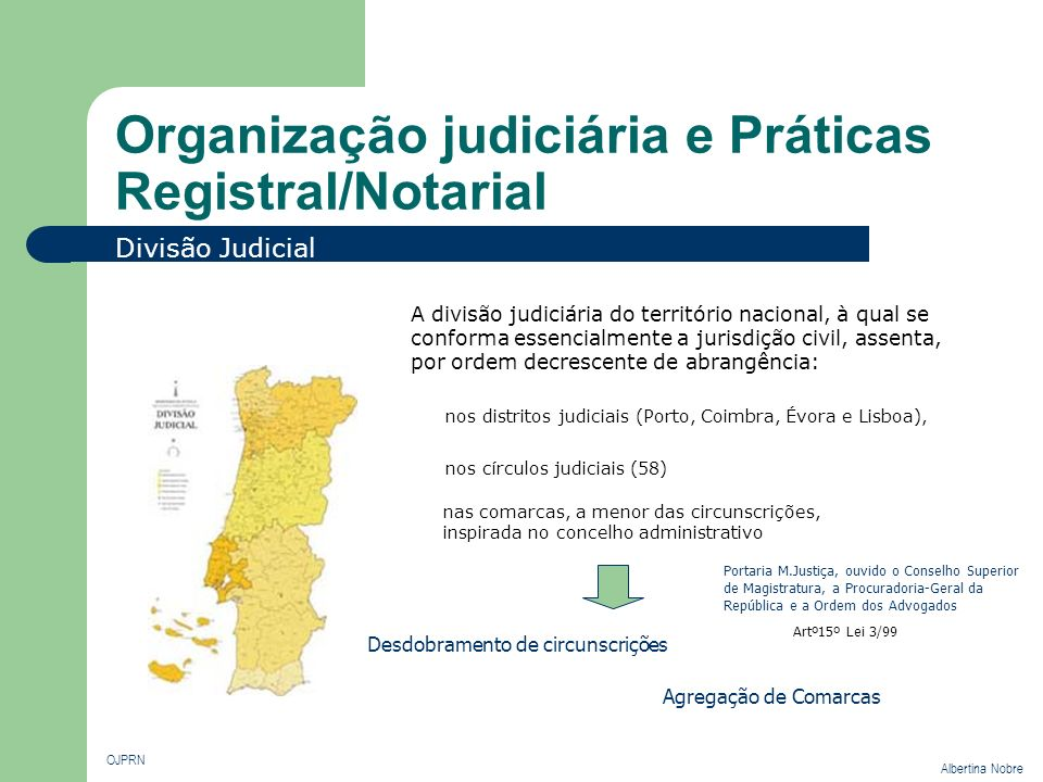 Organização judiciária e Práticas Registral/Notarial OJPRN Albertina Nobre A divisão judiciária do território nacional, à qual se conforma essencialme