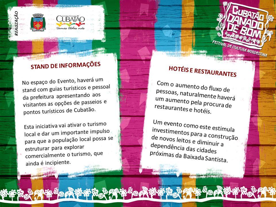 STAND DE INFORMAÇÕES No espaço do Evento, haverá um stand com guias turísticos e pessoal da prefeitura apresentando aos visitantes as opções de passeios e pontos turísticos de Cubatão.