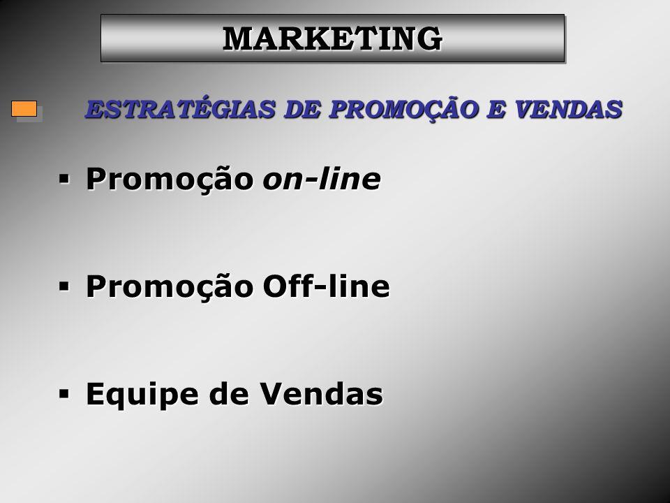 ESTRATÉGIAS DE PROMOÇÃO E VENDAS MARKETINGMARKETING Promoção on-line Promoção on-line Promoção Off-line Promoção Off-line Equipe de Vendas Equipe de V
