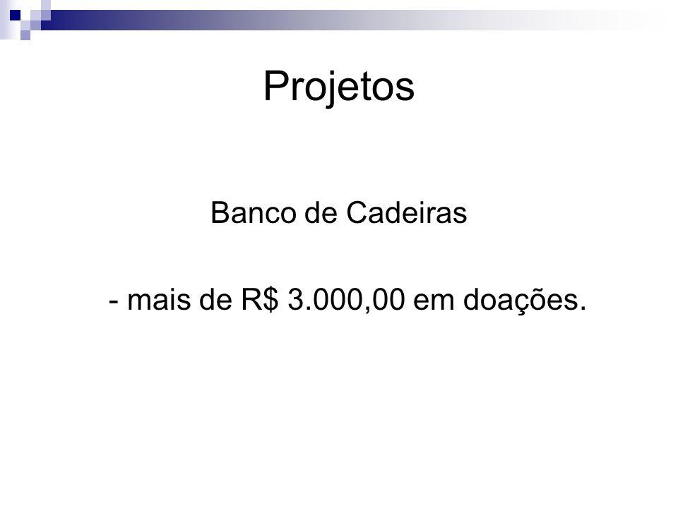 Projetos Banco de Cadeiras - mais de R$ 3.000,00 em doações.