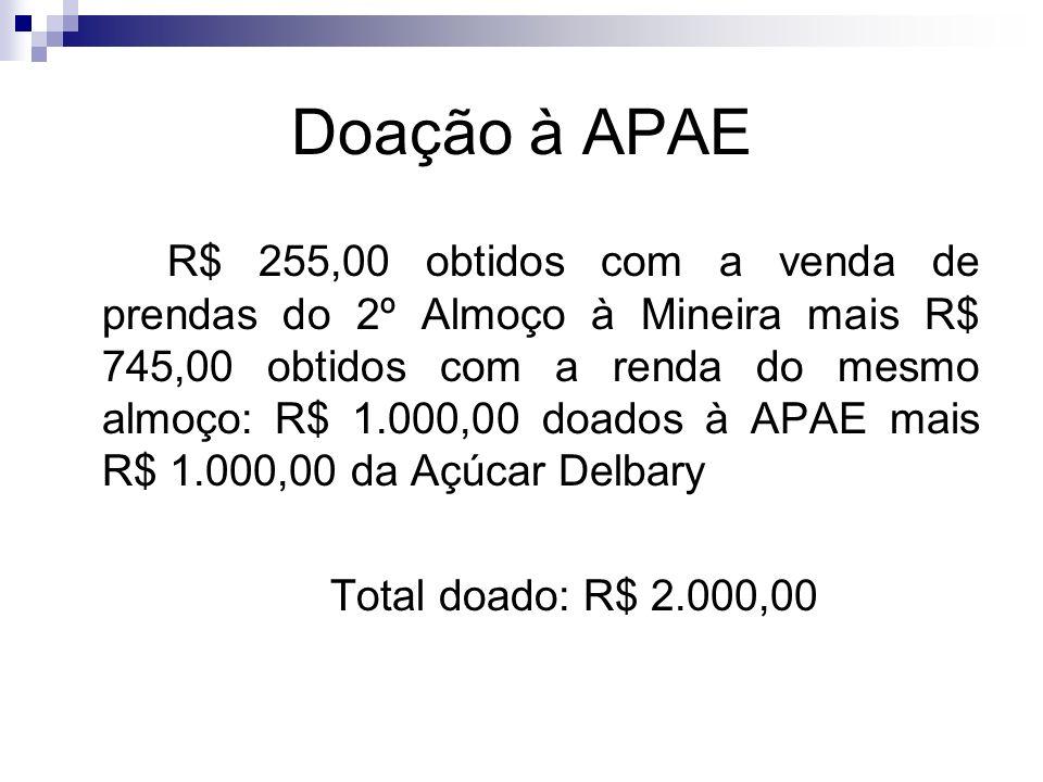 Doação à APAE R$ 255,00 obtidos com a venda de prendas do 2º Almoço à Mineira mais R$ 745,00 obtidos com a renda do mesmo almoço: R$ 1.000,00 doados à