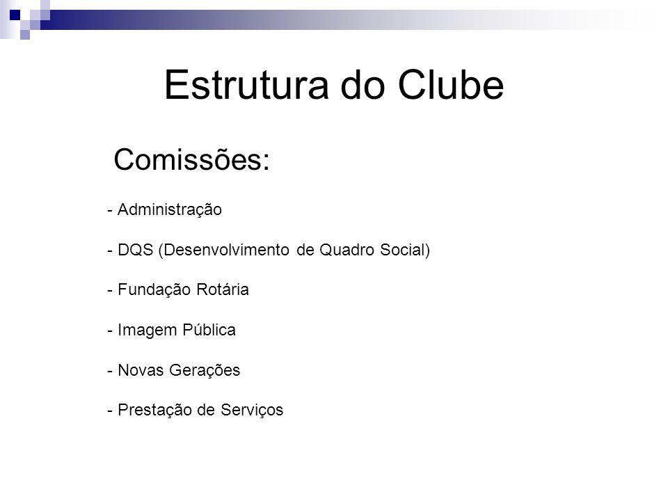 Estrutura do Clube Comissões: - Administração - DQS (Desenvolvimento de Quadro Social) - Fundação Rotária - Imagem Pública - Novas Gerações - Prestaçã