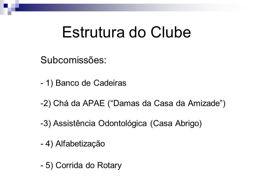 Estrutura do Clube Subcomissões: - 1) Banco de Cadeiras -2) Chá da APAE (Damas da Casa da Amizade) -3) Assistência Odontológica (Casa Abrigo) - 4) Alf