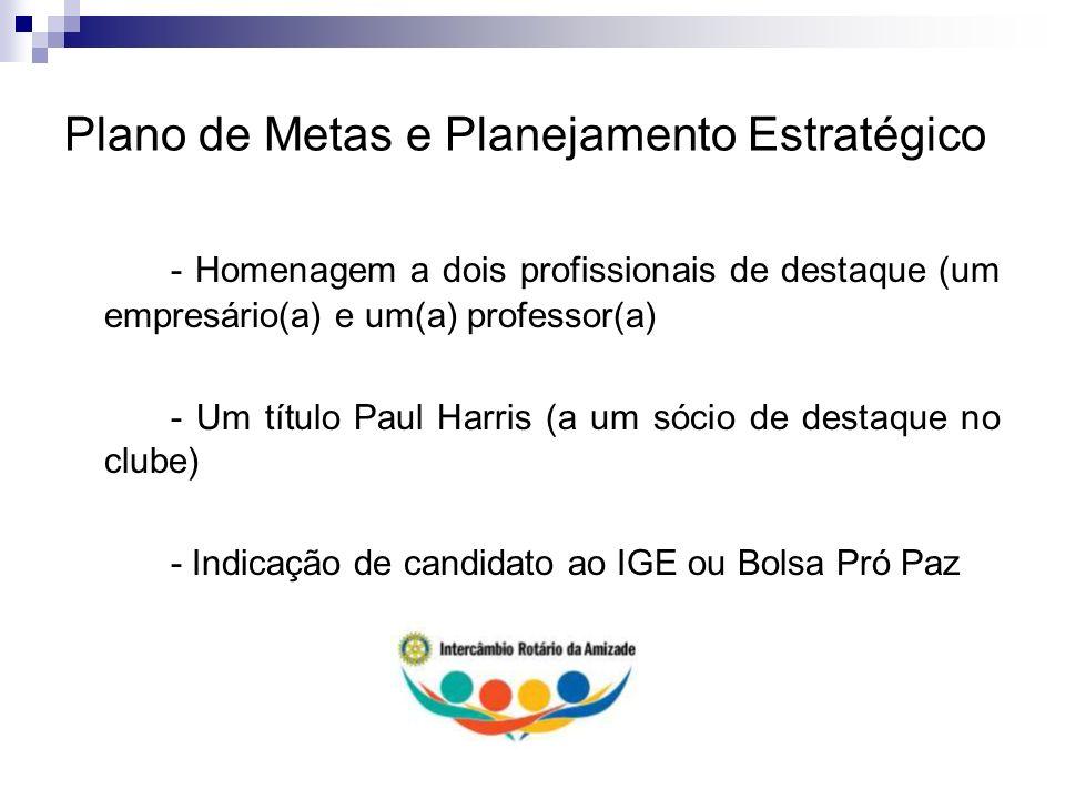 Plano de Metas e Planejamento Estratégico - Homenagem a dois profissionais de destaque (um empresário(a) e um(a) professor(a) - Um título Paul Harris