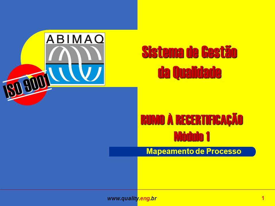 www.quality.eng.br 1 ISO 9001 RUMO À RECERTIFICAÇÃO Módulo 1 Sistema de Gestão da Qualidade Mapeamento de Processo