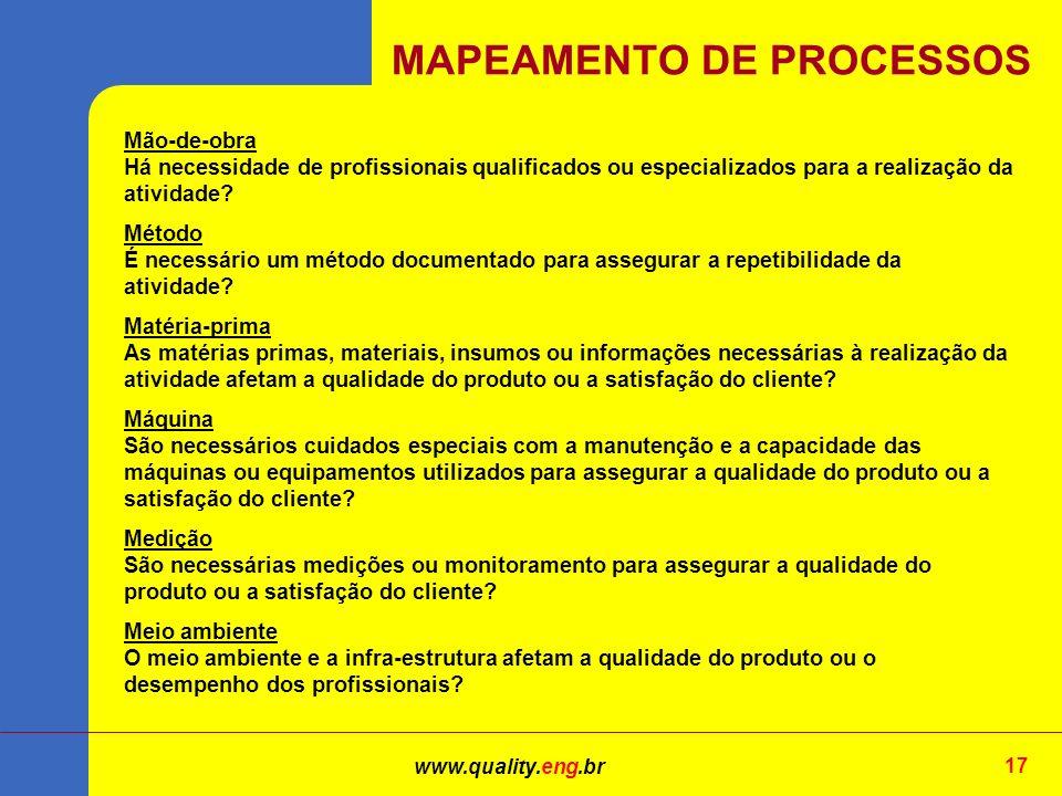 www.quality.eng.br 17 Mão-de-obra Há necessidade de profissionais qualificados ou especializados para a realização da atividade.