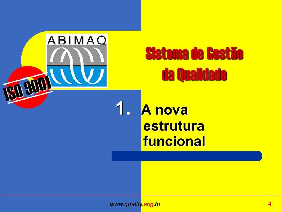 www.quality.eng.br 4 ISO 9001 Sistema de Gestão da Qualidade 1. A nova estrutura funcional