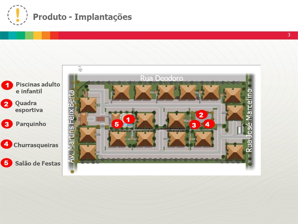 Produto - Implantações 3 1 5 3 4 2 1 2 3 4 5 Piscinas adulto e infantil Quadra esportiva Parquinho Churrasqueiras Salão de Festas Av. Martins Félix Be