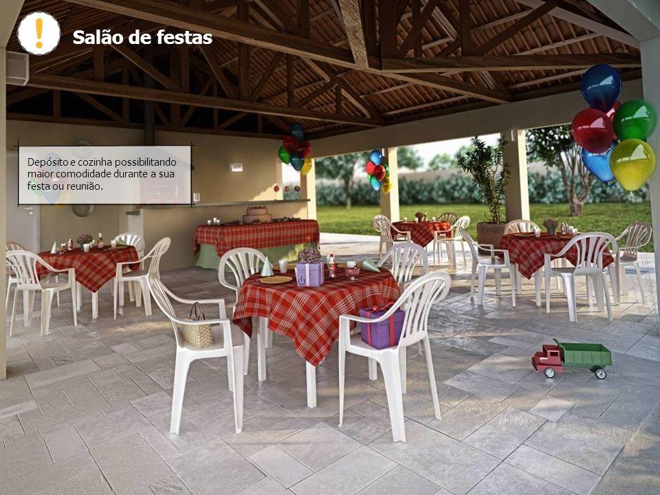 Salão de festas Depósito e cozinha possibilitando maior comodidade durante a sua festa ou reunião.