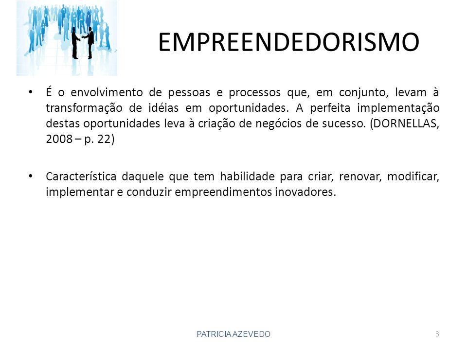 EMPREENDEDORISMO É o envolvimento de pessoas e processos que, em conjunto, levam à transformação de idéias em oportunidades.