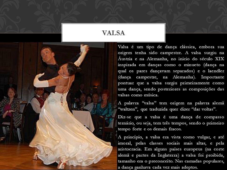 Valsa é um tipo de dança clássica, embora sua origem tenha sido campestre.