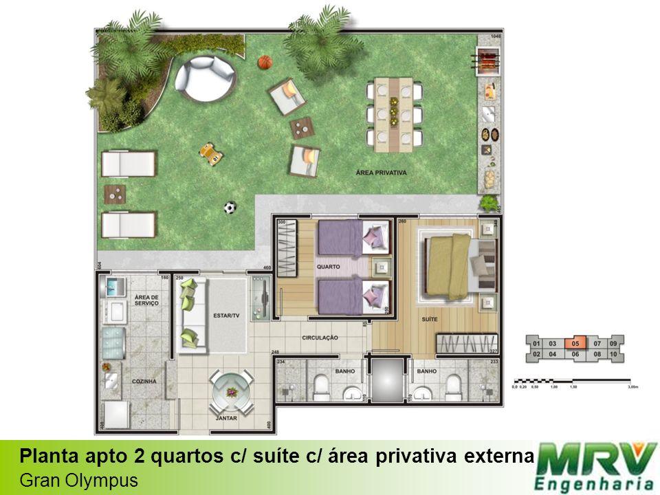 Planta apto 2 quartos c/ suíte c/ área privativa externa Gran Olympus