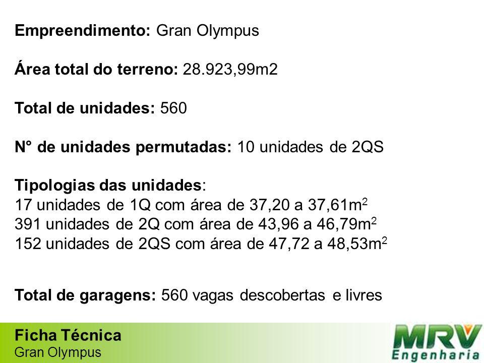 Empreendimento: Gran Olympus Área total do terreno: 28.923,99m2 Total de unidades: 560 N° de unidades permutadas: 10 unidades de 2QS Tipologias das un