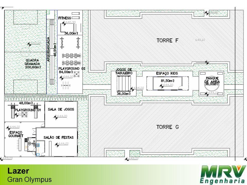 Planta apto 2 quartos c/ área privativa externa Gran Olympus