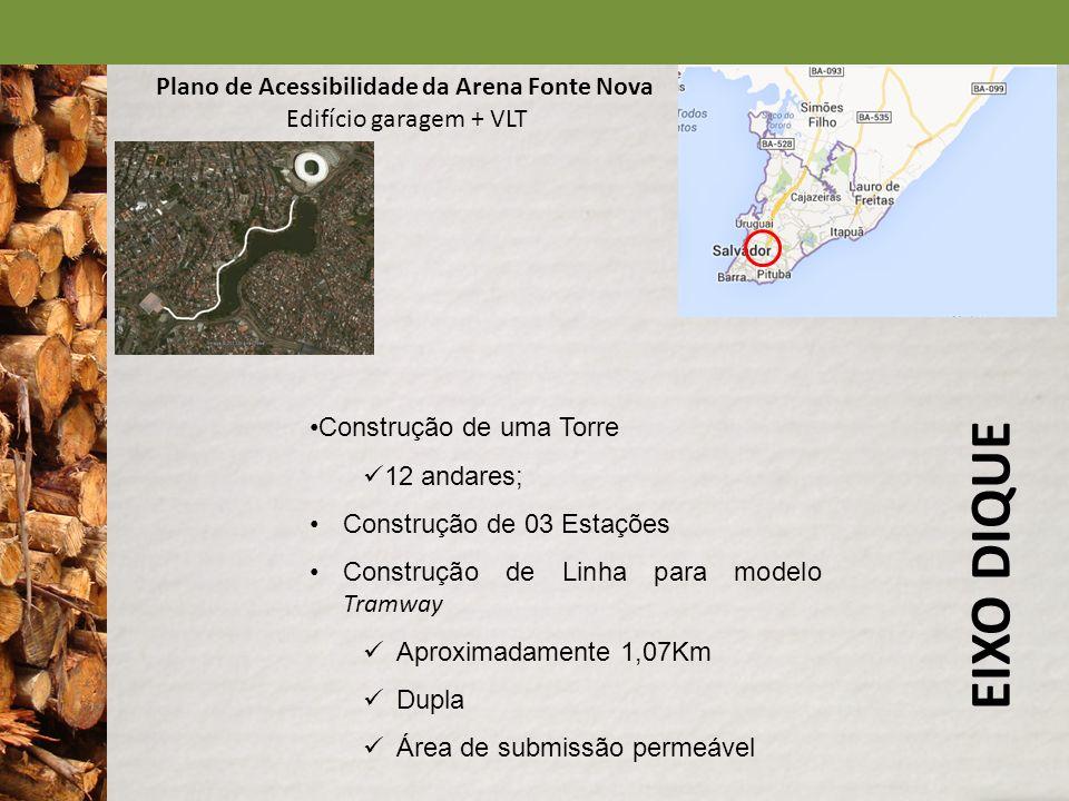 EIXO DIQUE Plano de Acessibilidade da Arena Fonte Nova Edifício garagem + VLT Construção de uma Torre 12 andares; Construção de 03 Estações Construção
