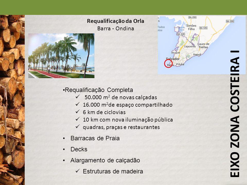 EIXO ZONA COSTEIRA I Requalificação da Orla Barra - Ondina Requalificação Completa 50.000 m 2 de novas calçadas 16.000 m 2 de espaço compartilhado 6 k