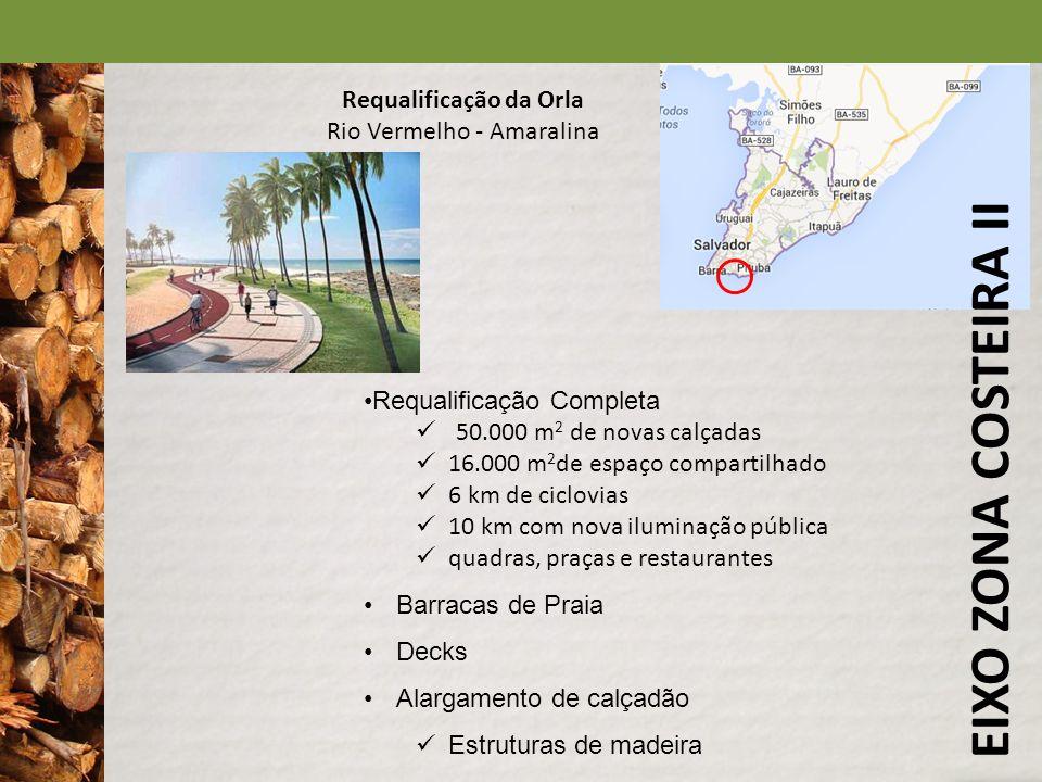EIXO ZONA COSTEIRA II Requalificação da Orla Rio Vermelho - Amaralina Requalificação Completa 50.000 m 2 de novas calçadas 16.000 m 2 de espaço compar
