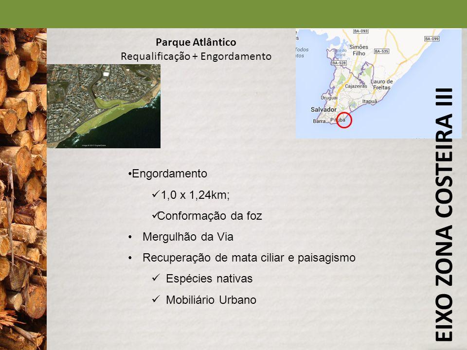 EIXO ZONA COSTEIRA III Parque Atlântico Requalificação + Engordamento Engordamento 1,0 x 1,24km; Conformação da foz Mergulhão da Via Recuperação de ma