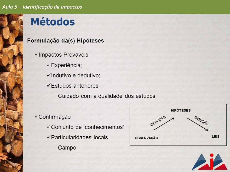 Formulação da(s) Hipóteses Impactos Prováveis Experiência; Indutivo e dedutivo; Estudos anteriores Cuidado com a qualidade dos estudos Confirmação Con