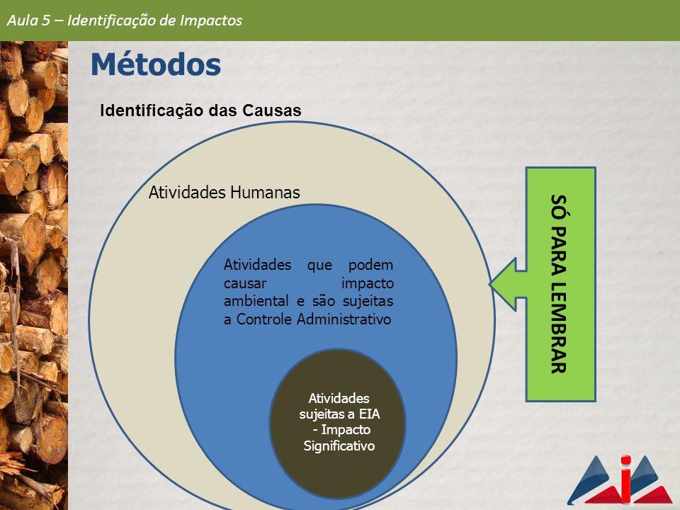 Identificação das Causas Atividades Humanas Atividades que podem causar impacto ambiental e são sujeitas a Controle Administrativo Atividades sujeitas