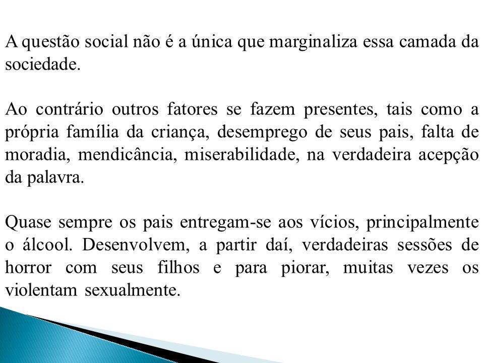 A questão social não é a única que marginaliza essa camada da sociedade. Ao contrário outros fatores se fazem presentes, tais como a própria família d