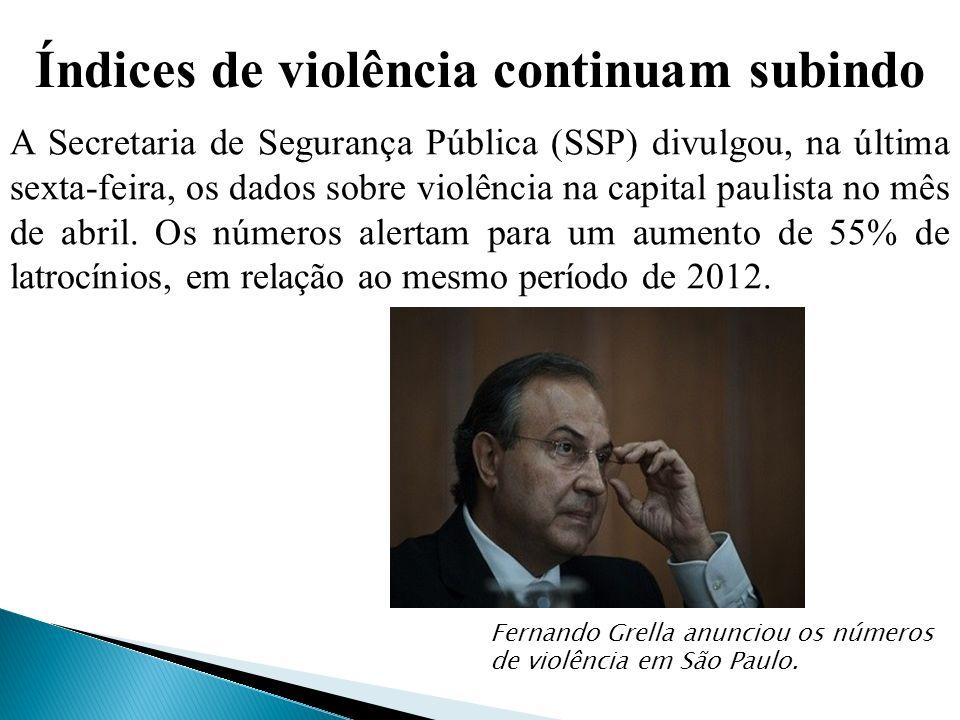 Índices de violência continuam subindo A Secretaria de Segurança Pública (SSP) divulgou, na última sexta-feira, os dados sobre violência na capital paulista no mês de abril.