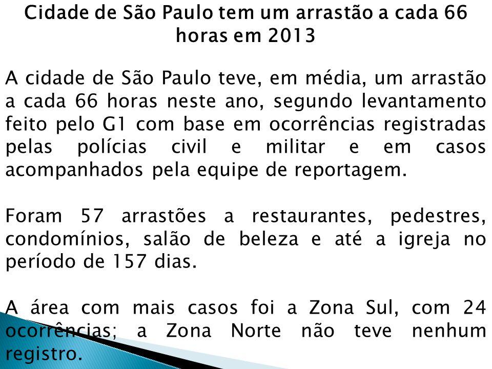 Cidade de São Paulo tem um arrastão a cada 66 horas em 2013 A cidade de São Paulo teve, em média, um arrastão a cada 66 horas neste ano, segundo levan
