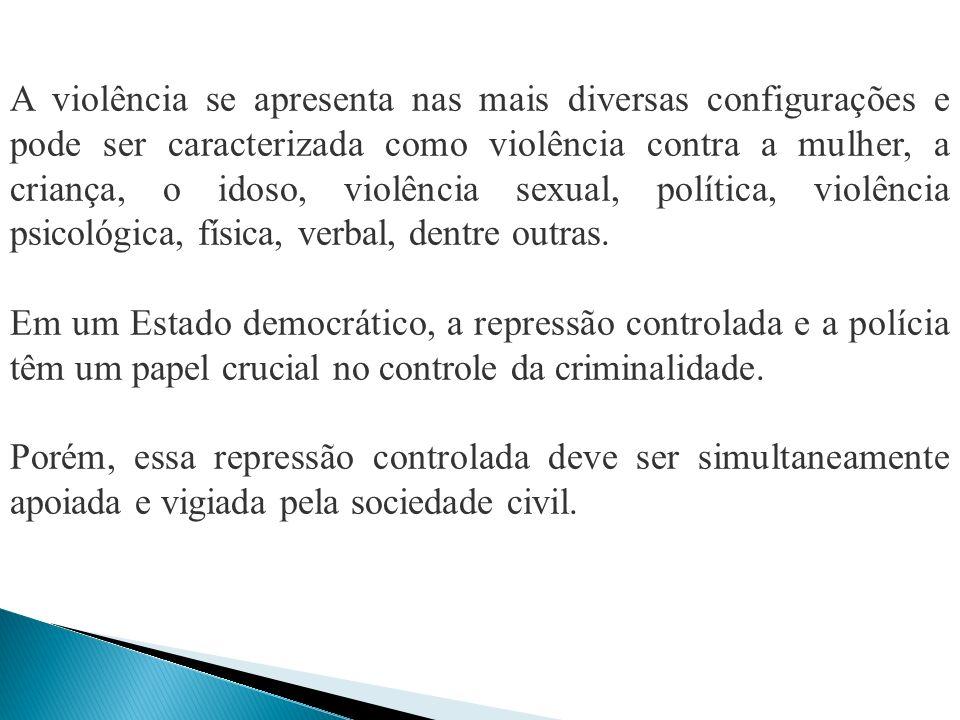 A violência se apresenta nas mais diversas configurações e pode ser caracterizada como violência contra a mulher, a criança, o idoso, violência sexual