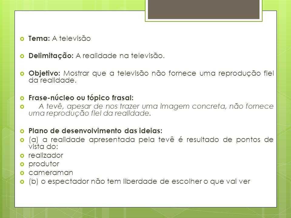 Tema: A televisão Delimitação: A realidade na televisão.