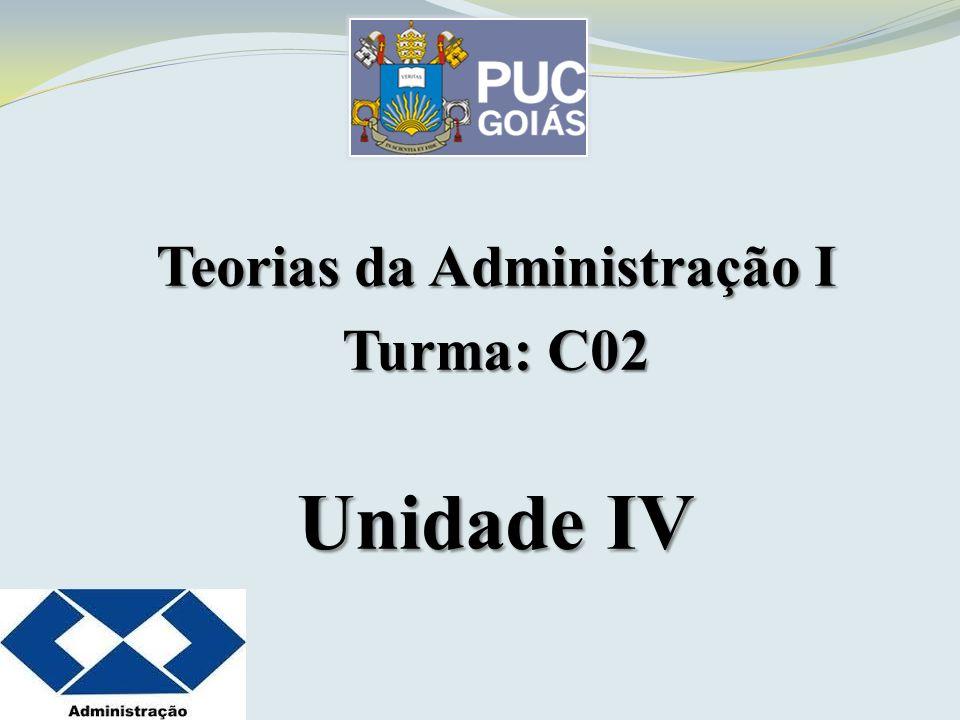 Teorias da Administração I Turma: C02 Unidade IV