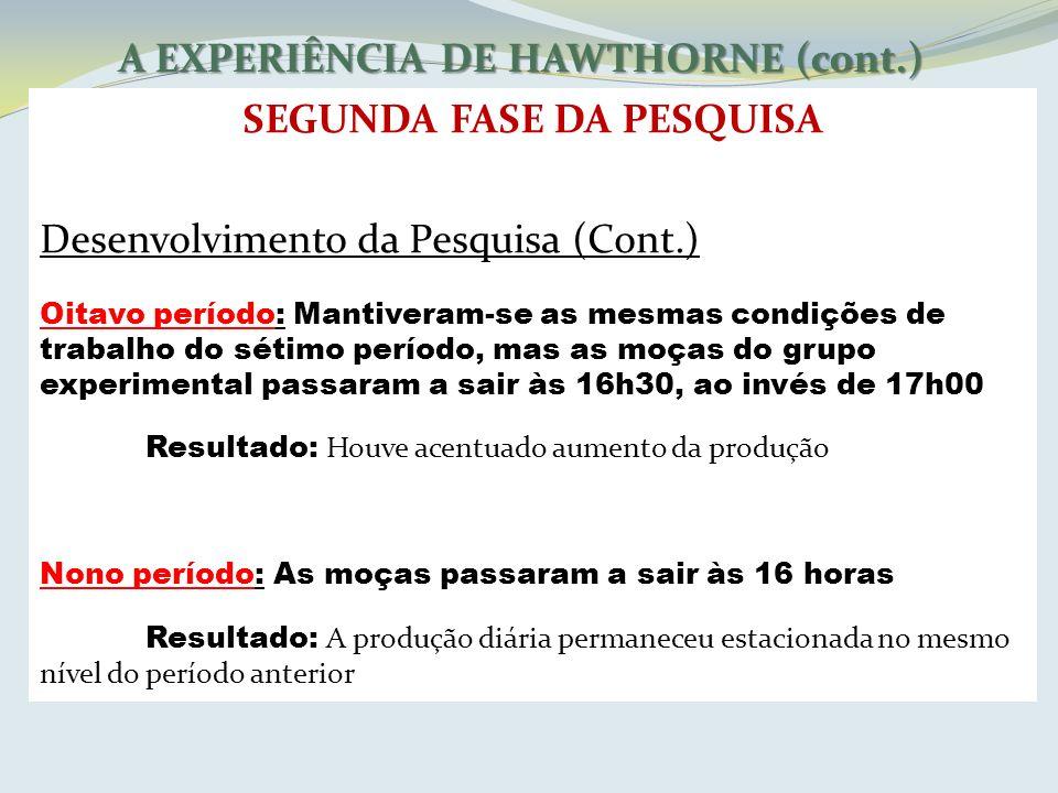 A EXPERIÊNCIA DE HAWTHORNE (cont.) SEGUNDA FASE DA PESQUISA Desenvolvimento da Pesquisa (Cont.) Oitavo período: Mantiveram-se as mesmas condições de t