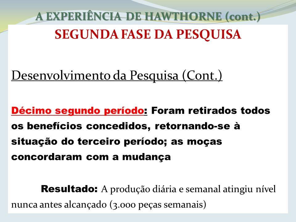 A EXPERIÊNCIA DE HAWTHORNE (cont.) SEGUNDA FASE DA PESQUISA Desenvolvimento da Pesquisa (Cont.) Décimo segundo período: Foram retirados todos os benef