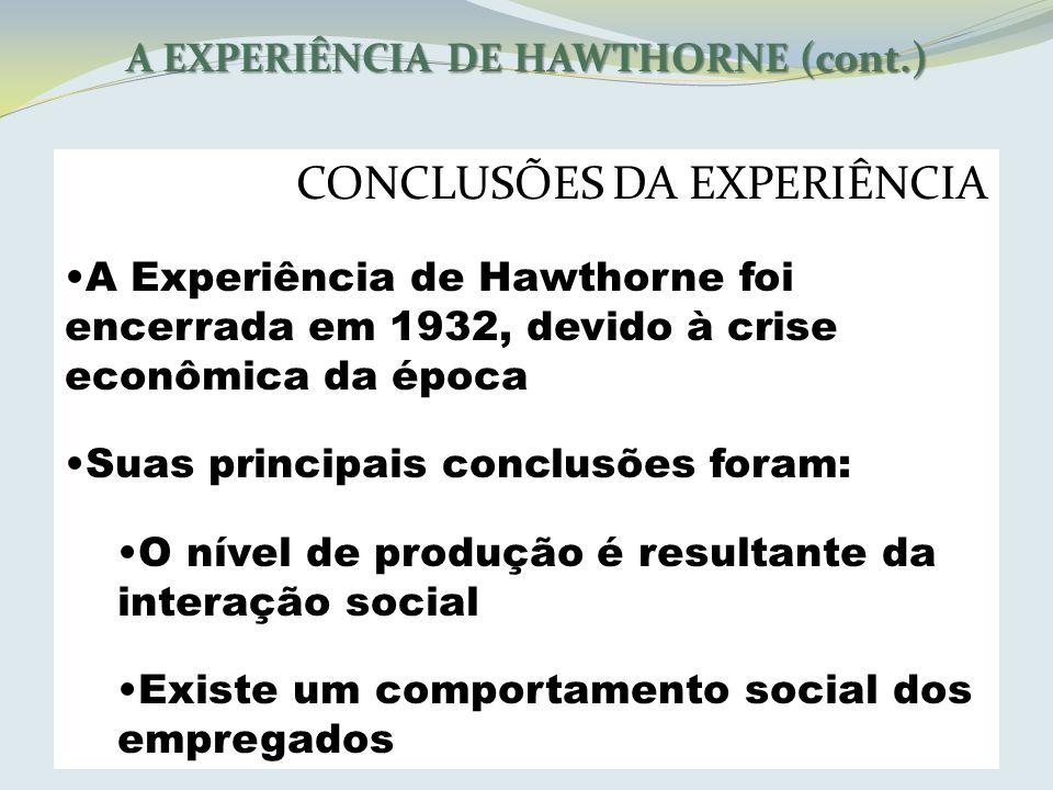 A EXPERIÊNCIA DE HAWTHORNE (cont.) CONCLUSÕES DA EXPERIÊNCIA A Experiência de Hawthorne foi encerrada em 1932, devido à crise econômica da época Suas