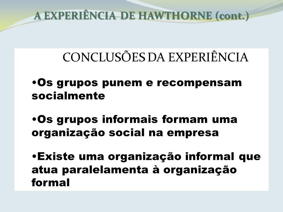 A EXPERIÊNCIA DE HAWTHORNE (cont.) CONCLUSÕES DA EXPERIÊNCIA Os grupos punem e recompensam socialmente Os grupos informais formam uma organização soci