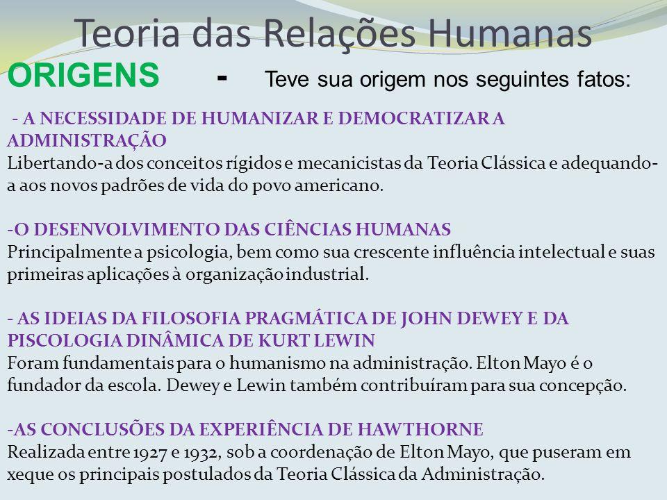 ORIGENS - Teve sua origem nos seguintes fatos: Teoria das Relações Humanas - A NECESSIDADE DE HUMANIZAR E DEMOCRATIZAR A ADMINISTRAÇÃO Libertando-a do