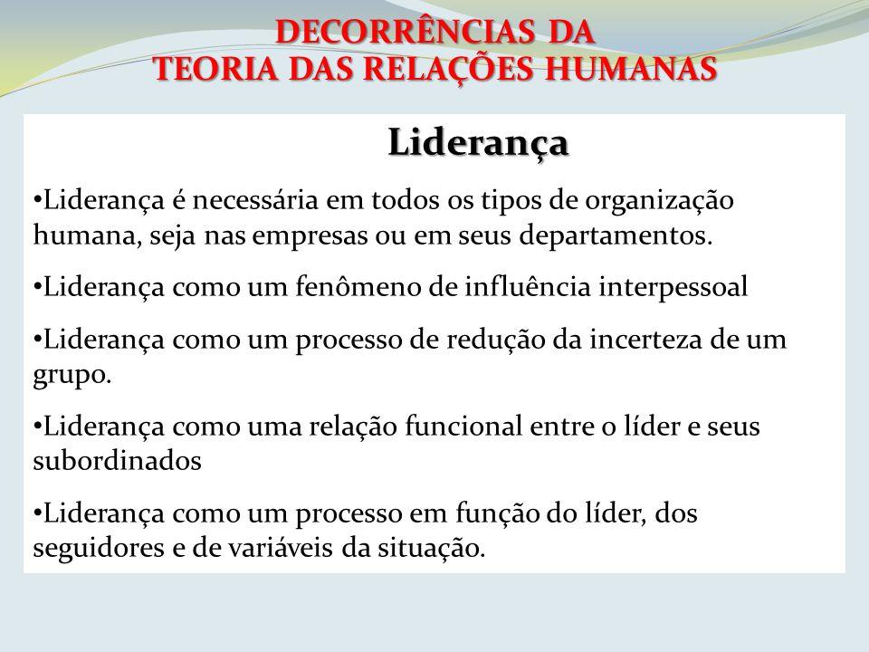 DECORRÊNCIAS DA TEORIA DAS RELAÇÕES HUMANAS Liderança Liderança é necessária em todos os tipos de organização humana, seja nas empresas ou em seus dep