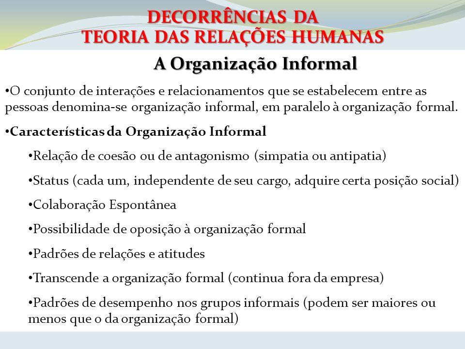DECORRÊNCIAS DA TEORIA DAS RELAÇÕES HUMANAS A Organização Informal O conjunto de interações e relacionamentos que se estabelecem entre as pessoas deno