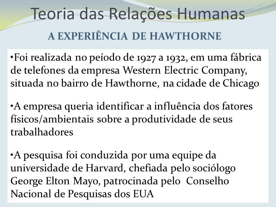 Teoria das Relações Humanas A EXPERIÊNCIA DE HAWTHORNE Foi realizada no peíodo de 1927 a 1932, em uma fábrica de telefones da empresa Western Electric