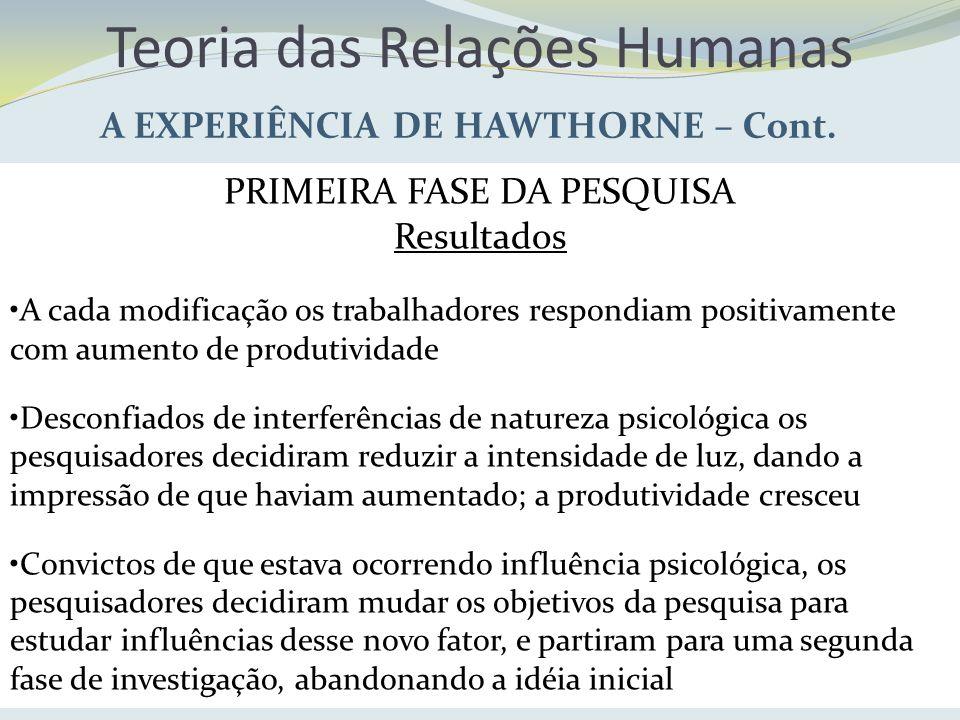 Teoria das Relações Humanas A EXPERIÊNCIA DE HAWTHORNE – Cont. PRIMEIRA FASE DA PESQUISA Resultados A cada modificação os trabalhadores respondiam pos