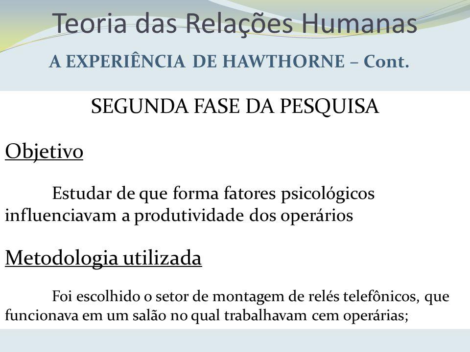 Teoria das Relações Humanas A EXPERIÊNCIA DE HAWTHORNE – Cont. SEGUNDA FASE DA PESQUISA Objetivo Estudar de que forma fatores psicológicos influenciav