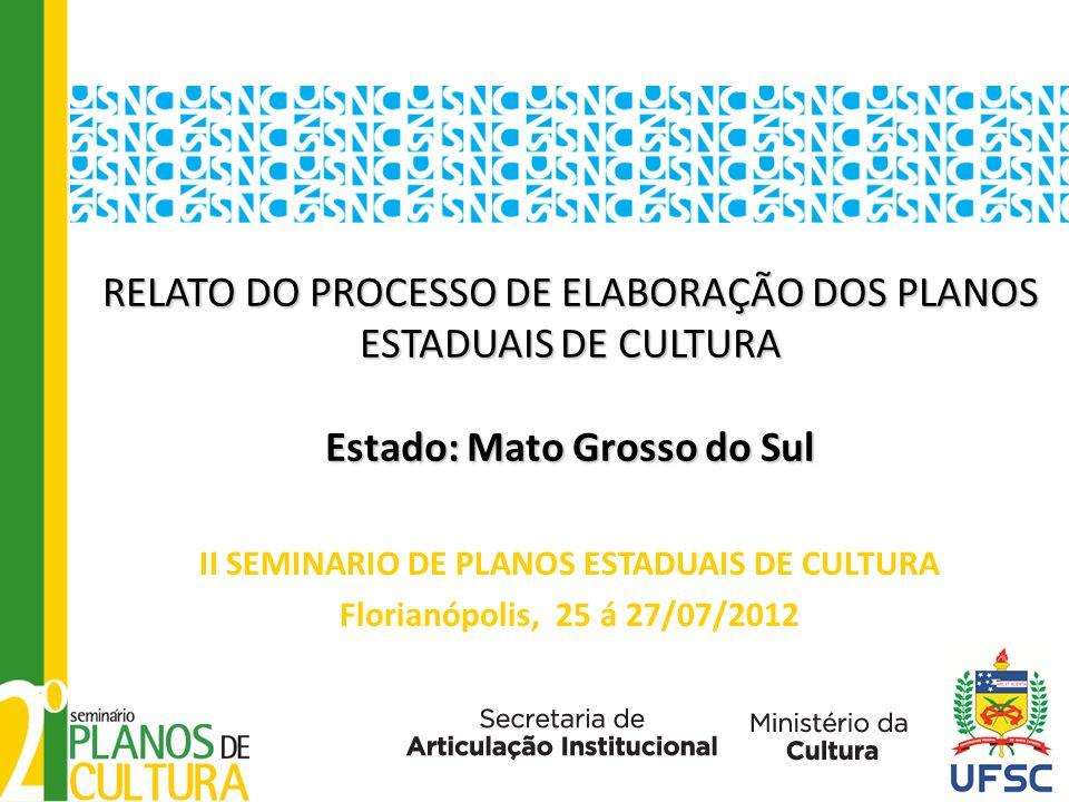RELATO DO PROCESSO DE ELABORAÇÃO DOS PLANOS ESTADUAIS DE CULTURA Estado: Mato Grosso do Sul RELATO DO PROCESSO DE ELABORAÇÃO DOS PLANOS ESTADUAIS DE C