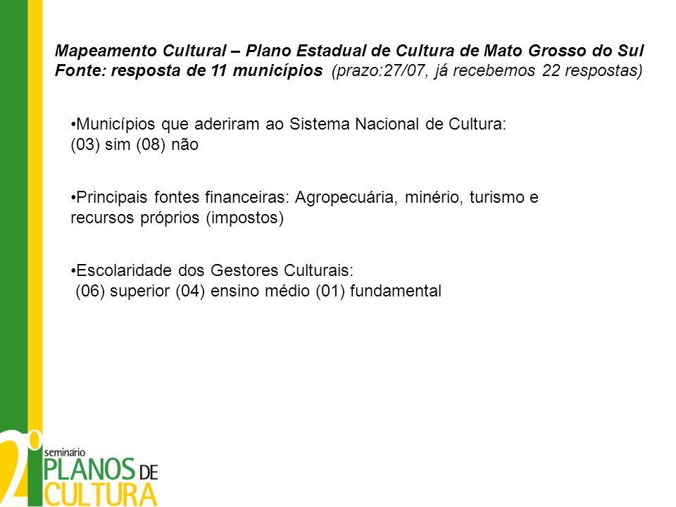 Municípios que aderiram ao Sistema Nacional de Cultura: (03) sim (08) não Principais fontes financeiras: Agropecuária, minério, turismo e recursos pró