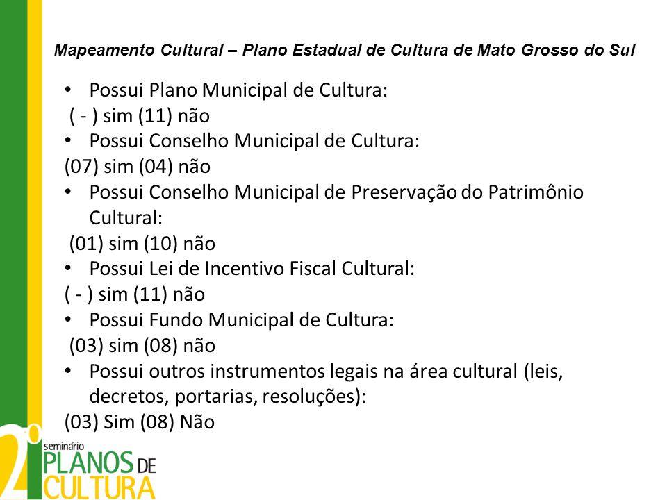 Possui Plano Municipal de Cultura: ( - ) sim (11) não Possui Conselho Municipal de Cultura: (07) sim (04) não Possui Conselho Municipal de Preservação