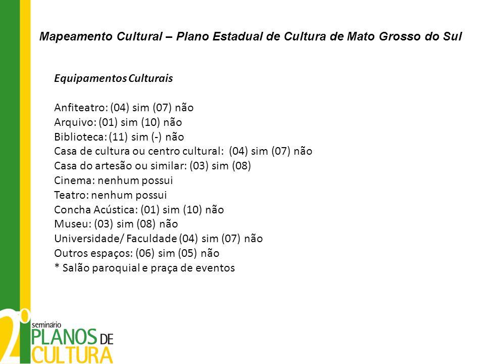 Equipamentos Culturais Anfiteatro: (04) sim (07) não Arquivo: (01) sim (10) não Biblioteca: (11) sim (-) não Casa de cultura ou centro cultural: (04)
