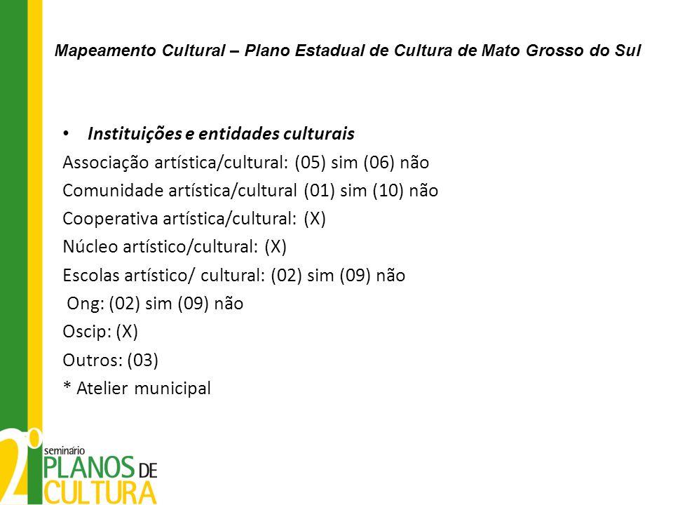 Instituições e entidades culturais Associação artística/cultural: (05) sim (06) não Comunidade artística/cultural (01) sim (10) não Cooperativa artíst
