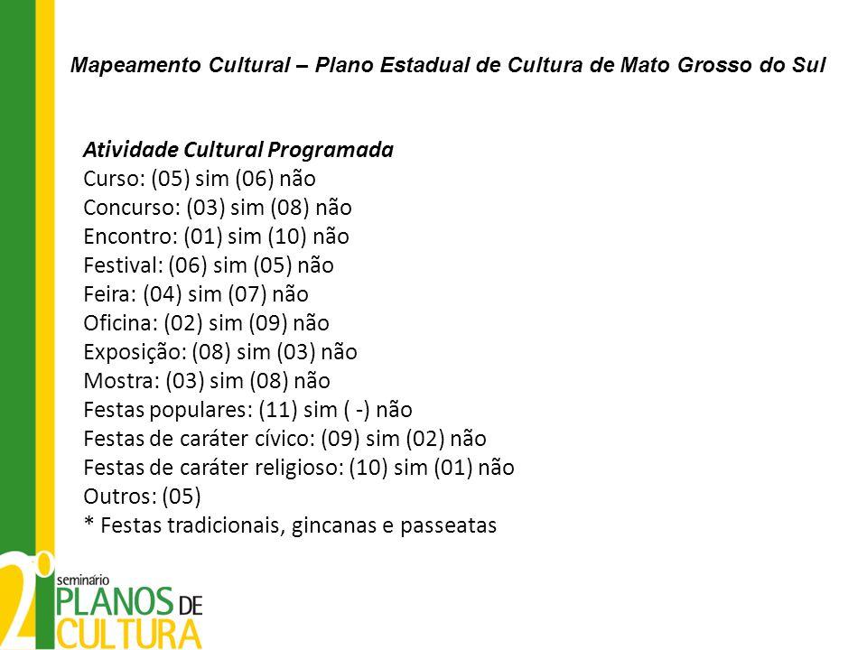 Atividade Cultural Programada Curso: (05) sim (06) não Concurso: (03) sim (08) não Encontro: (01) sim (10) não Festival: (06) sim (05) não Feira: (04)