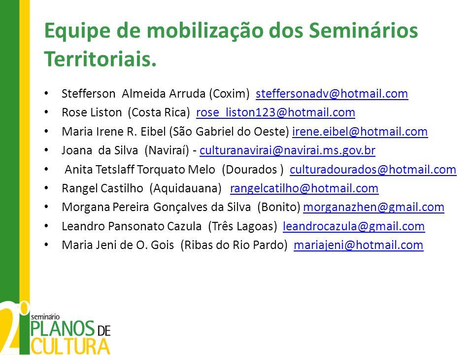 Equipe de mobilização dos Seminários Territoriais. Stefferson Almeida Arruda (Coxim) steffersonadv@hotmail.comsteffersonadv@hotmail.com Rose Liston (C