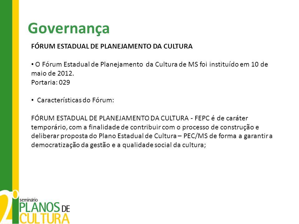 Governança FÓRUM ESTADUAL DE PLANEJAMENTO DA CULTURA O Fórum Estadual de Planejamento da Cultura de MS foi instituído em 10 de maio de 2012. Portaria: